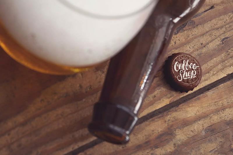 水滴效果啤酒瓶盖Logo展示设计样机模板designshidai_yj188