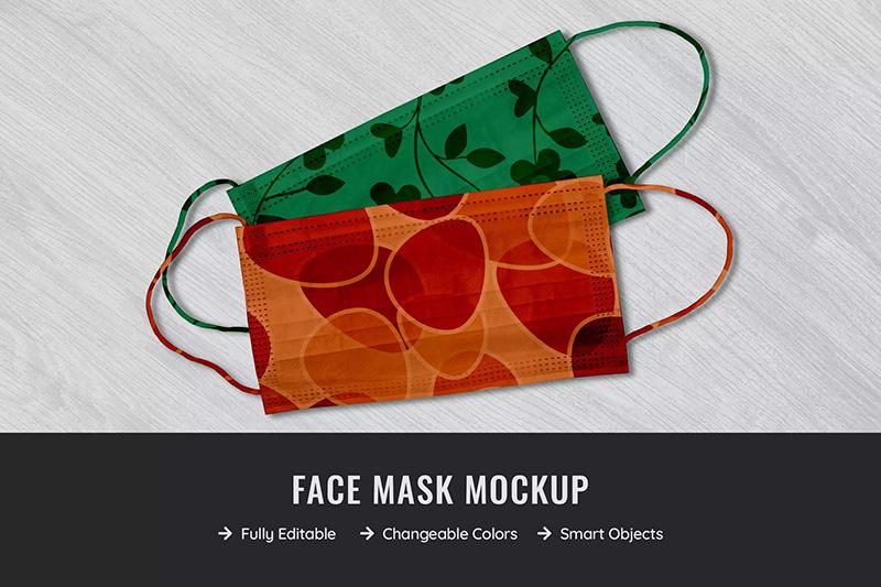 棉质口罩外观设计俯视图样机模板designshidai_yj31