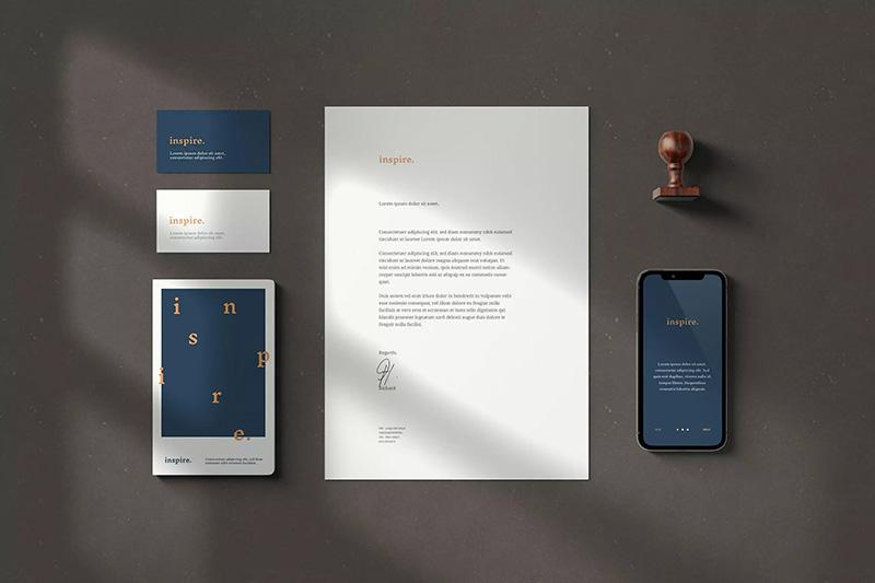 逼真阴影效果企业品牌/办公文具设计样机模板designshidai_yj35