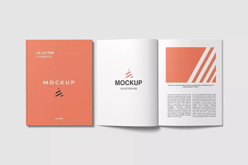 打开和闭合状态美国信纸尺寸杂志设计顶视图样机模板designshidai_yj39