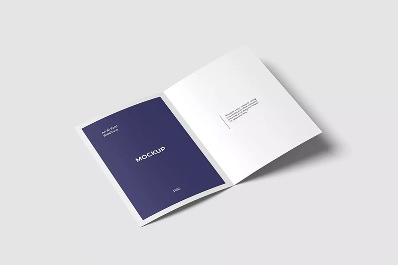 A4双折页广告宣传册内页设计样机模板designshidai_yj40