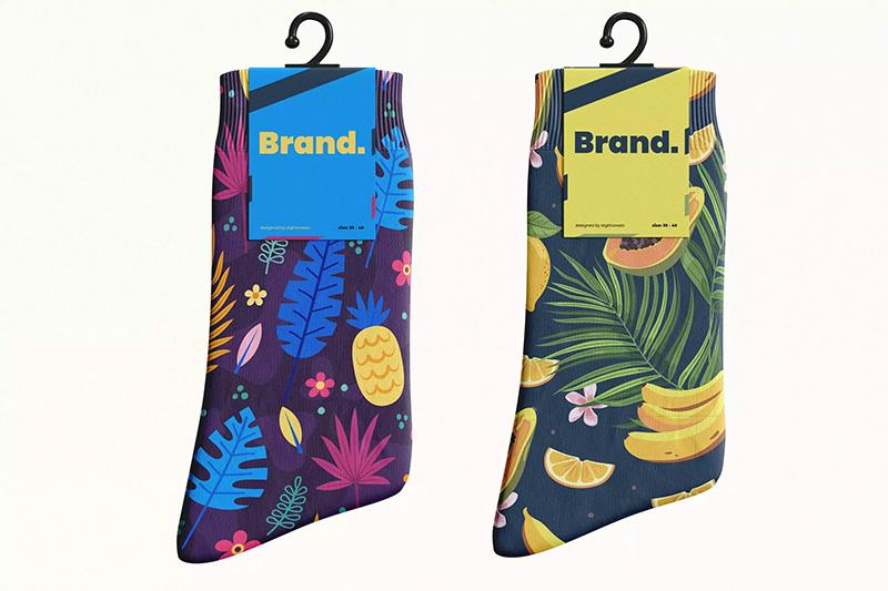折叠袜子面料印花图案设计样机模板designshidai_yj42