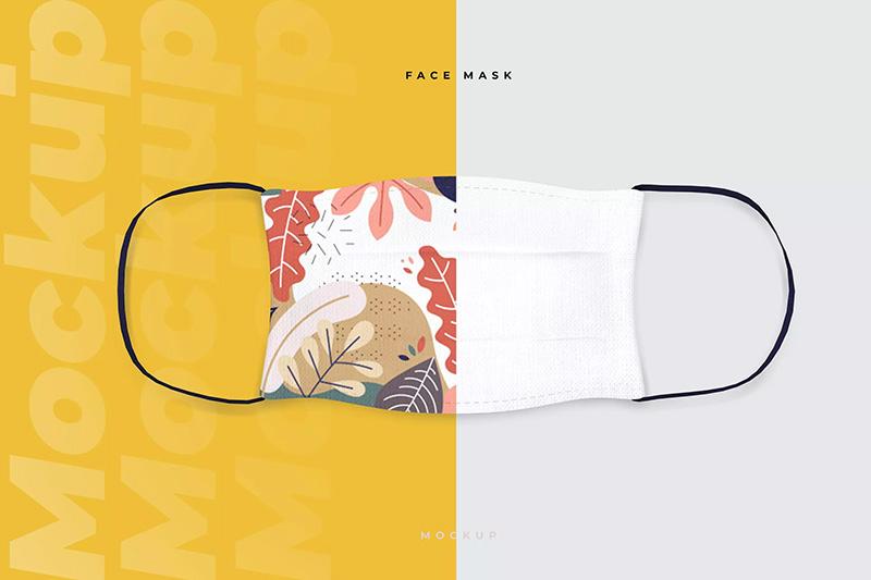 棉质口罩图案设计正视图样机模板designshidai_yj60