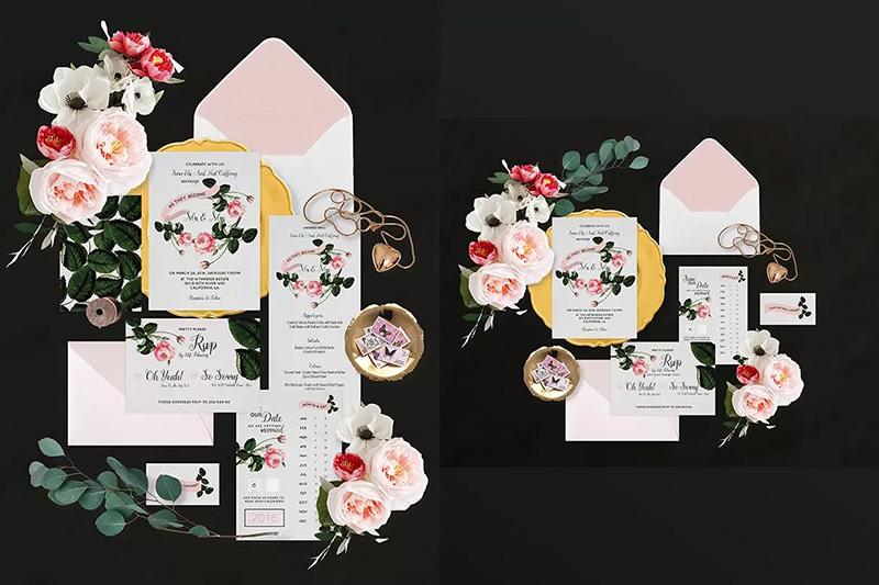 植物花卉场景邀请函套装设计样机模板designshidai_yj70
