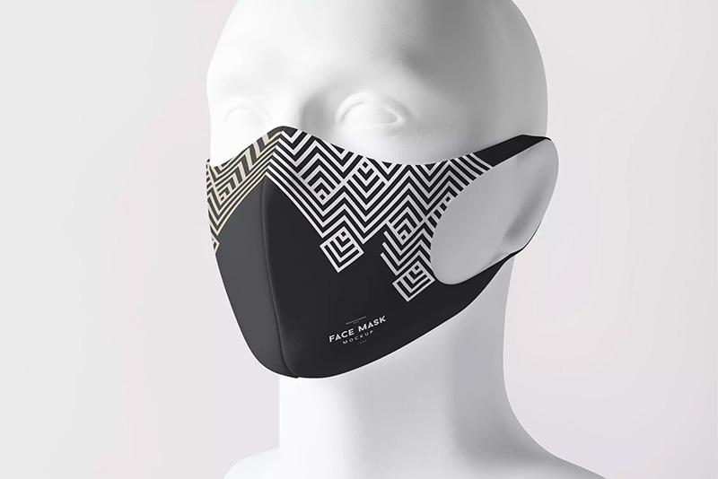 时尚印花口罩设计效果图样机designshidai_yj69