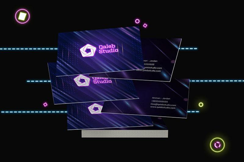 霓虹灯未来科技感企业名片设计预览样机designshidai_yj170