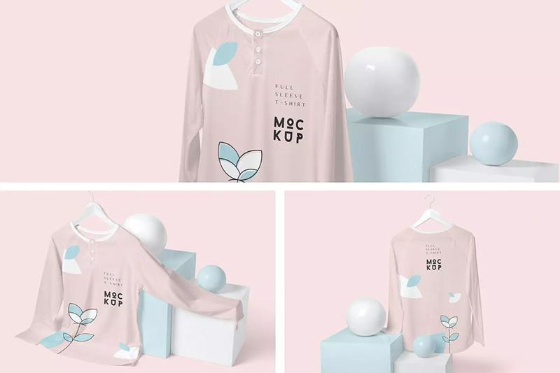系扣长袖T恤印花图案设计样机designshidai_yj85