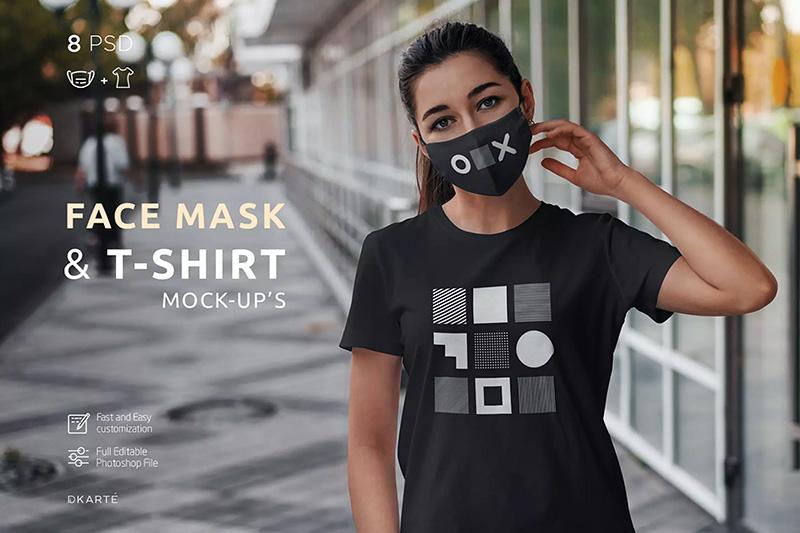 口罩&T恤印花图案设计效果图样机designshidai_010