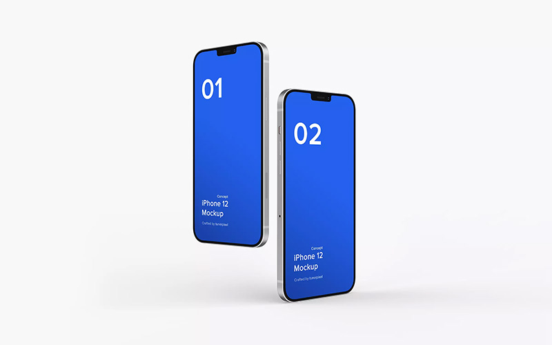 5K分辨率iPhone 12苹果概念机屏幕演示样机模板designshidai_005