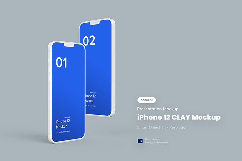 iPhone 12概念机黏土材质样机模板designshidai_yj154
