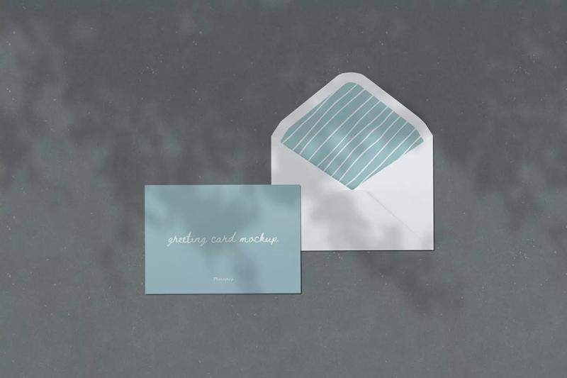 邀请信封贺卡设计顶视图样机模板designshidai_yj166