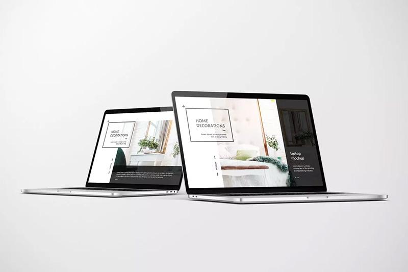 笔记本电脑多角度屏幕展示样机模板designshidai_yj176