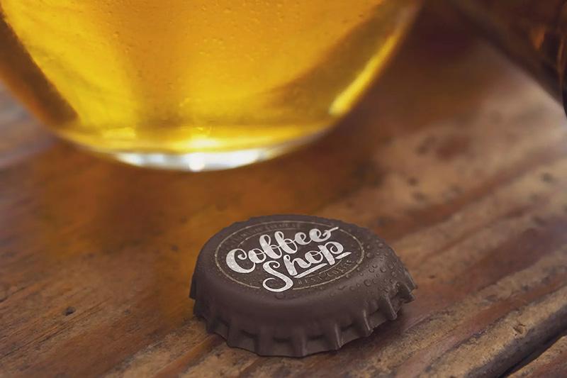 水滴效果啤酒瓶盖品牌Logo设计样机模板designshidai_yj184
