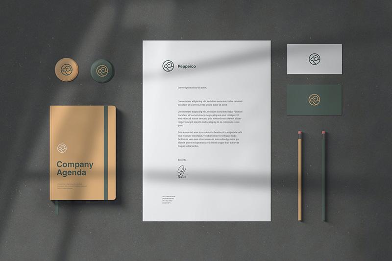 优雅高端企业品牌VI设计效果图样机designshidai_yj208