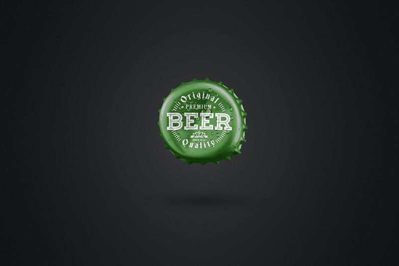水滴效果啤酒盖标签设计样机模板designshidai_yj22