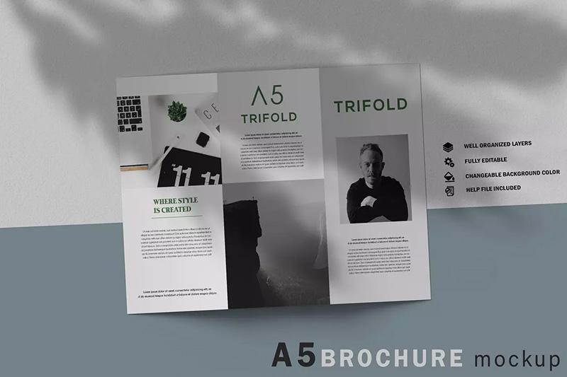 A5三折页宣传册/小册子版式设计样机模板designshidai_yj68