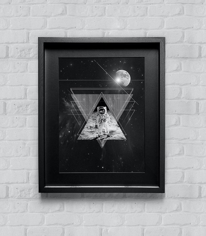 家居装饰海报/艺术品/版画展示木制相框样机模板designshidai_yj001