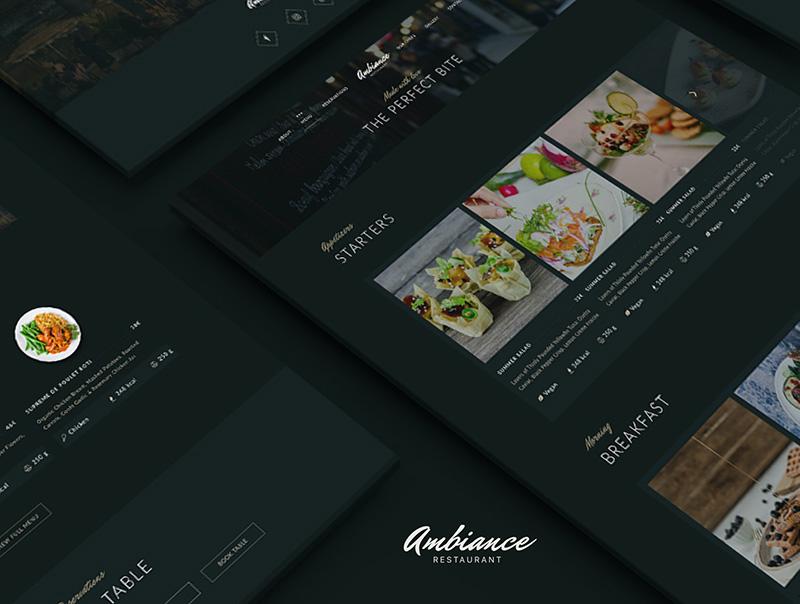 深色优雅主题餐厅/酒吧/咖啡馆响应式网站设计主题和模板designshidai_ui09