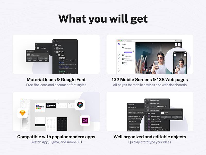 视频会议/聊天/网络研讨会UI设计套件designshidai_ui18