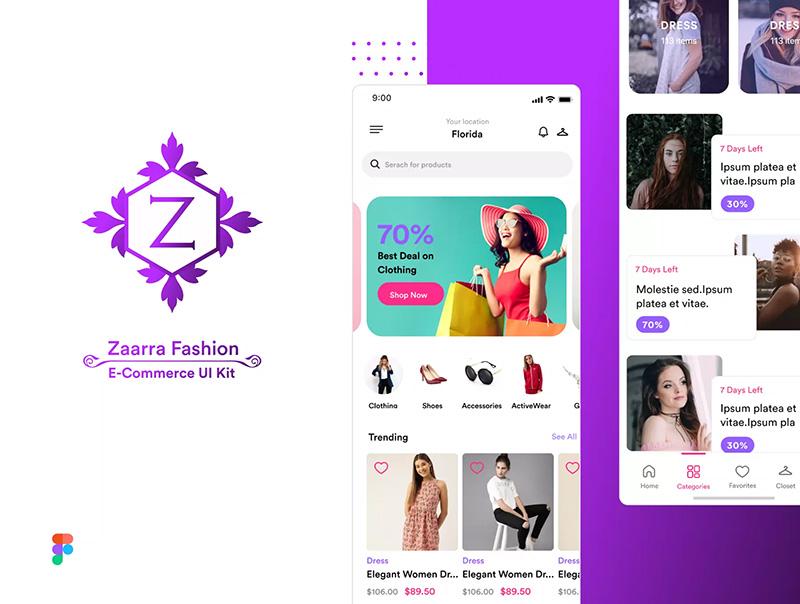 时尚的商城平台电子商务APP应用设计UI套件designshidai_ui49