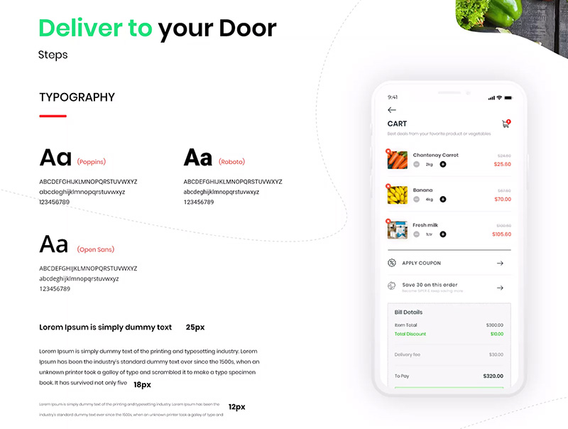 社交电商APP食品订购和配送APP应用设计UI KIT designshidai_ui52