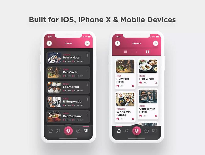 美食主题餐厅外卖服务应用程序UI工具包 Scarlett Food App UI Kit designshidai_ui05