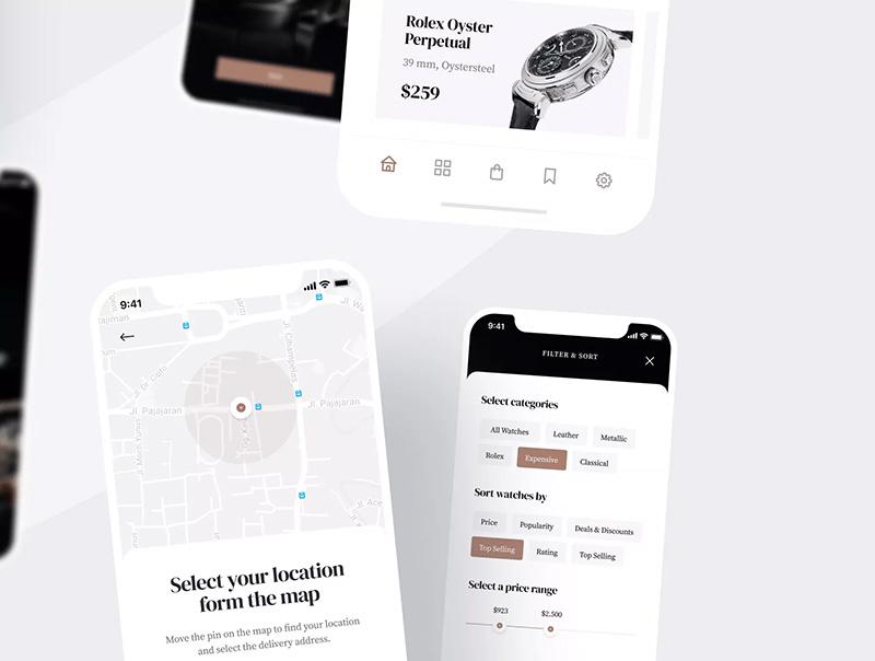 高级豪华钟表商城电子商务APP应用设计UI套件designshidai_ui47