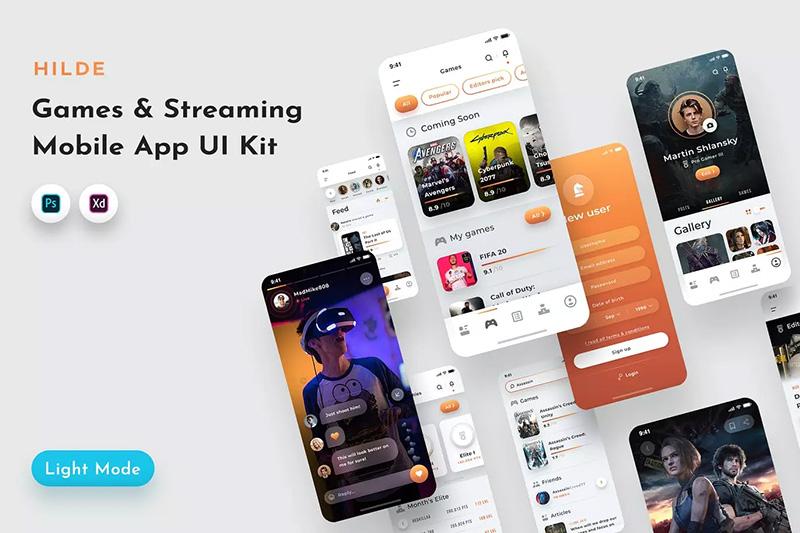 现代手机游戏/主流媒体应用UI工具包 Hilde Gaming & Streaming App UI Kit designshidai_yj02