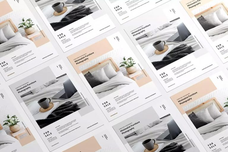 传单设计叠放效果图样机模板designshidai_yj363