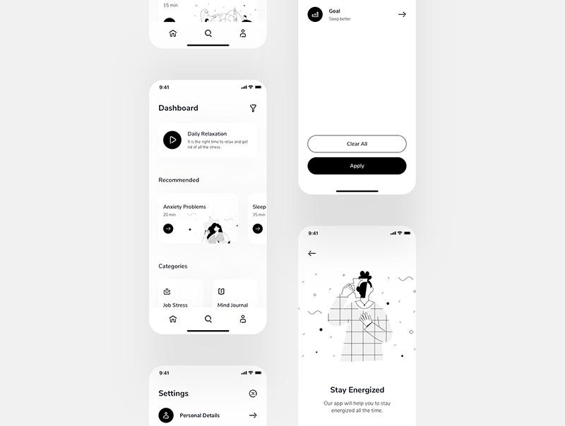 简约黑白风格冥想APP移动应用程序UI套件designshidai_ui70