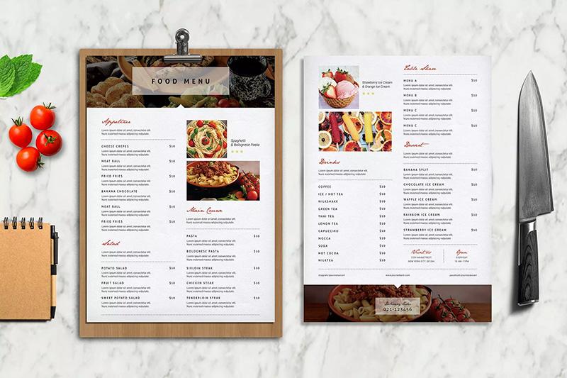 现代风格餐厅食物单页菜单模板designshidai_haibao20