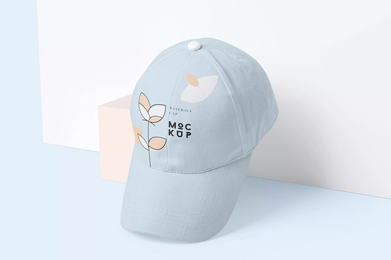 5个棒球帽Logo设计样机模板designshidai_yj255