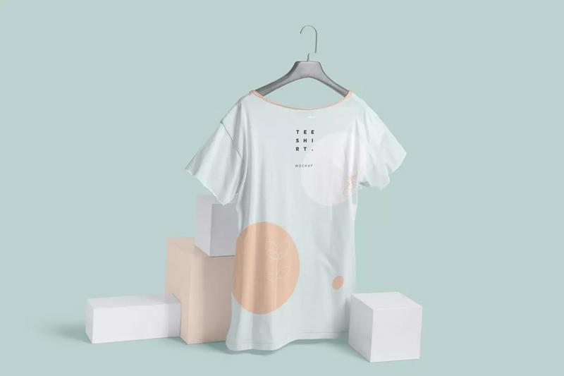 宽领短袖T恤印花图案设计样机模板designshidai_yj281