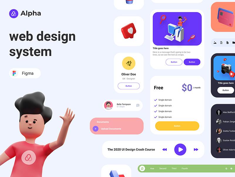 基于Figma的多元素自动布局Web设计系统designshidai_ui08
