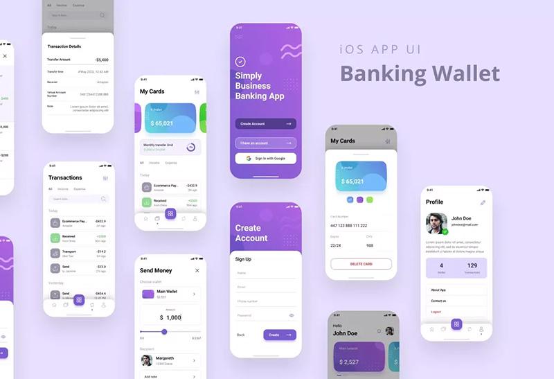 电子银行钱包APP应用UI设计套件 Banking Wallet iOS App UI PSD & Figma designshidai_ui30