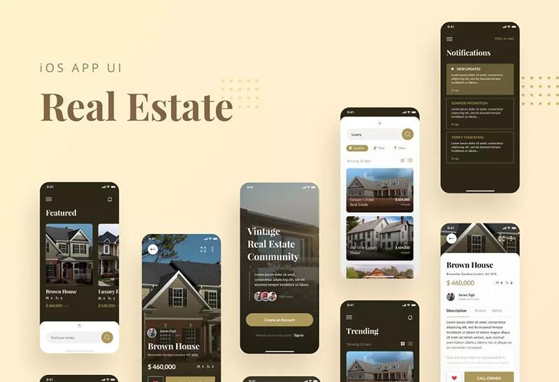 房产租赁销售APP商城UI设计套件 Real Estate iOS App UI Template PSD & Figma designshidai_ui31