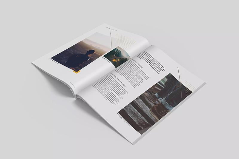 极简主义杂志内页版式设计开页效果图样机designshidai_yj317