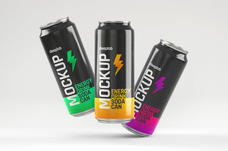 光泽的能量饮料苏打水易拉罐包装设计样机集designshidai_yj341