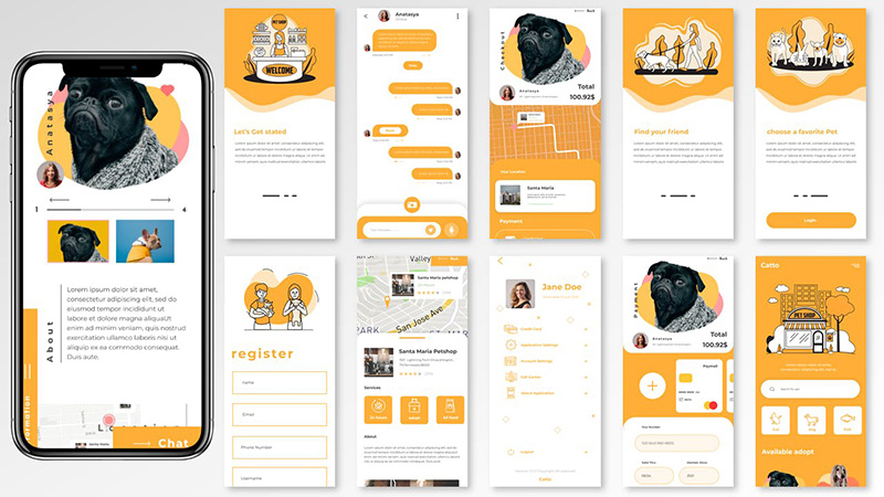 宠物用品商店APP应用UI界面设计套件 Catto UI Kit – Pet Shop Apps designshidai_ui03