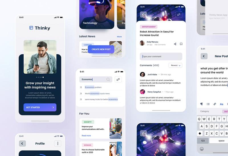 博客新闻资讯iOS应用UI设计套件 Thinky – Blog News iOS App Design Figma & PSD designshidai_ui04