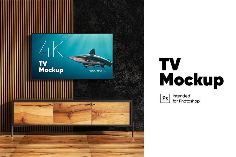 大尺寸壁挂电视屏幕预览样机模板 TV Mockup designshidai_yj227