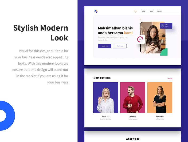 现代风格的数字代理&创意工作室网站模板designshidai_ui46
