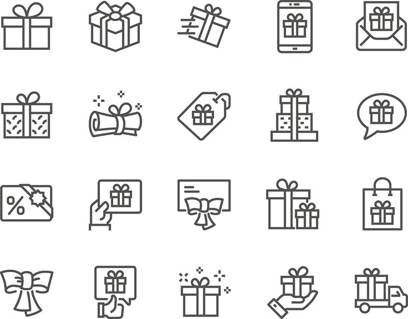 一套简单的礼品相关向量线图标。包含的图标,如礼品卡,礼物,提供丝带和更多。可编辑的中风。48×48像素完美designshidai_ui56