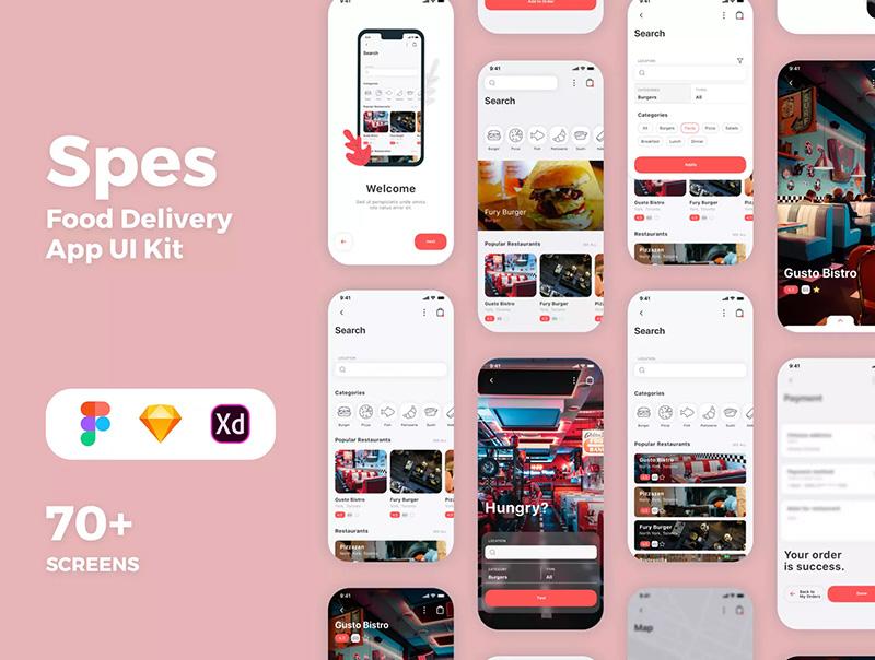 食品配送服务移动应用APP UI套件designshidai_ui66
