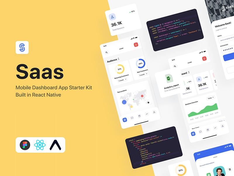 SaaS仪表板应用程序设计套件+ React-Native designshidai_ui72