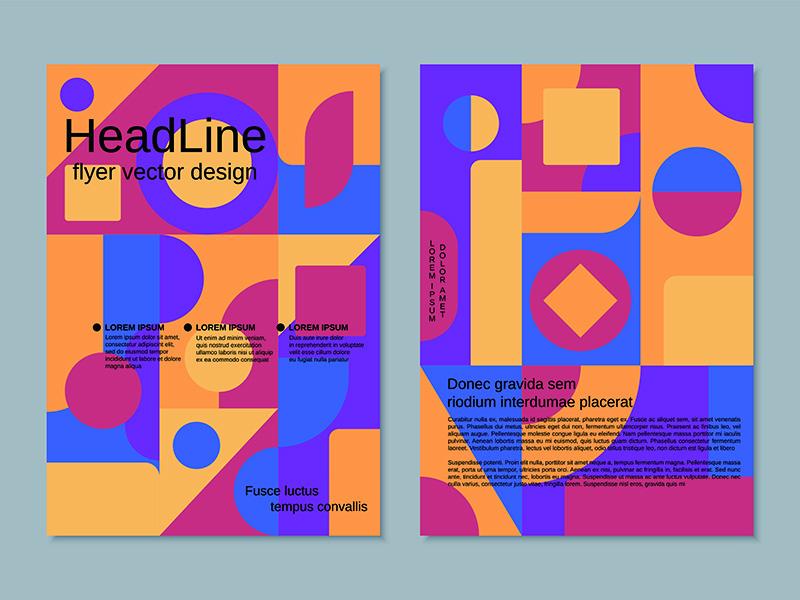 带有抽象几何复古色彩背景矢量设计模板的双面传单designshidai_haibao03