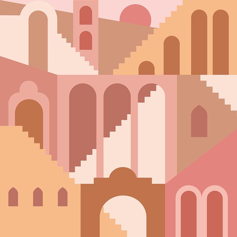梦幻平面几何建筑摩洛哥楼梯的当代美学背景designshidai_beijing05