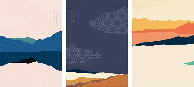 海报设计中的抽象艺术。日本模式矢量的景观背景。designshidai_beijing07
