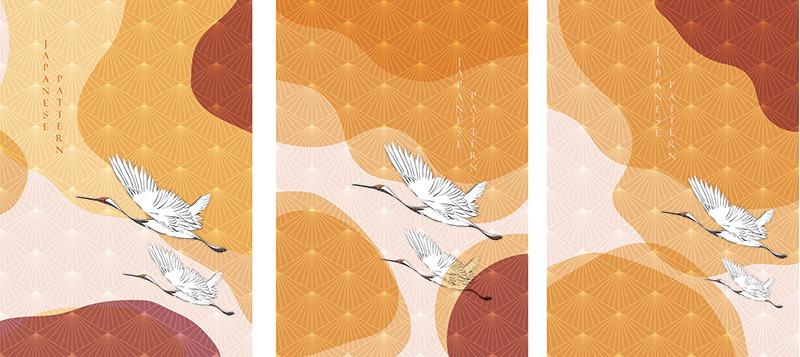 鹤鸟与日本模式矢量。几何橙色背景。designshidai_beijing21