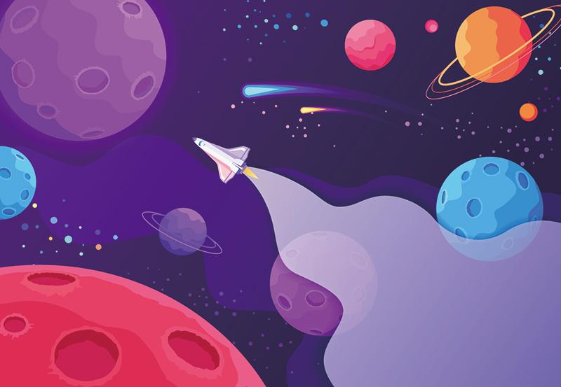卡通宇宙飞船前往新的行星和星系designshidai_beijing39